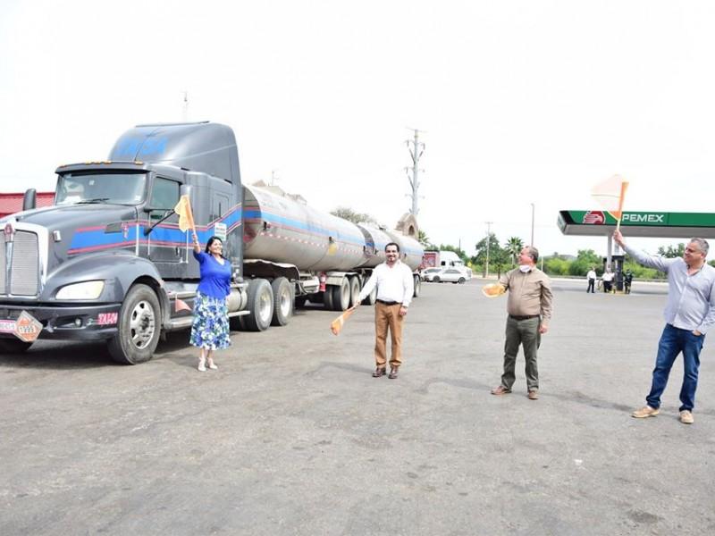 Llegan 107 toneladas de asfalto a Navojoa donadas por Pemex