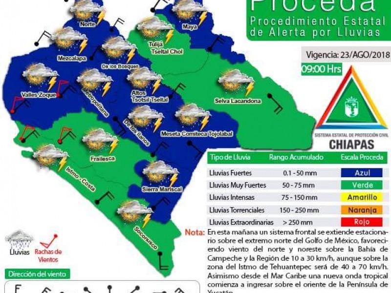 Lluvias continuarán en Chiapas