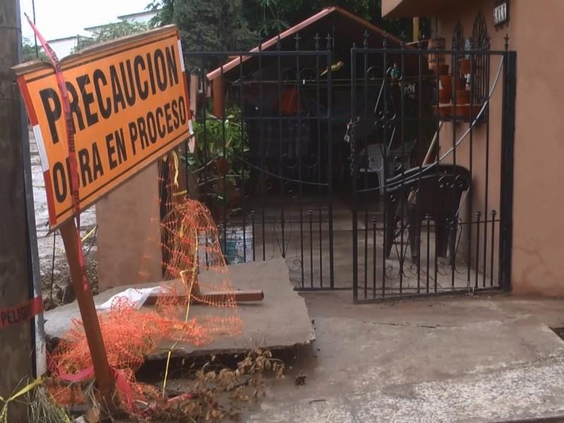 Lluvias de Huracán Lorena deja socavones en Culiacán