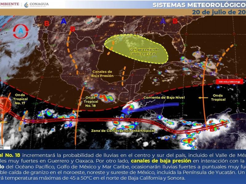 Lluvias fuertes dispersas y rachas fuertes de viento en Sonora