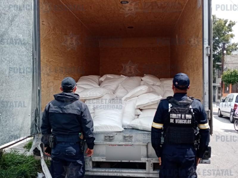 Localiza SSE carga robada valuada en 60 mil pesos