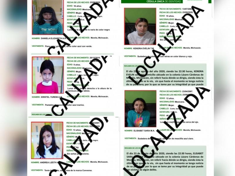 Localizan a cinco menores reportadas como desaparecidas