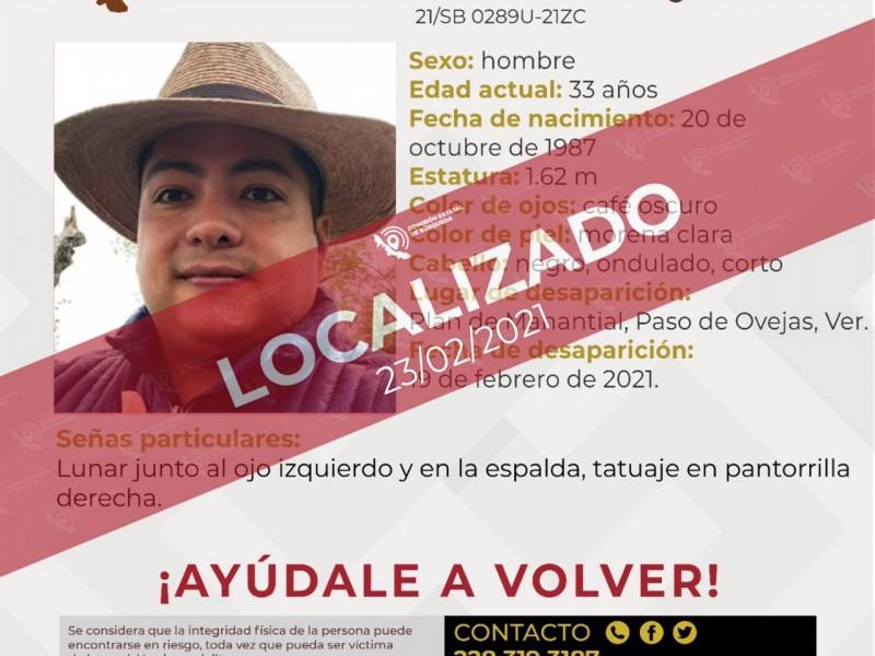 Localizan a joven de Paso de Ovejas desaparecido