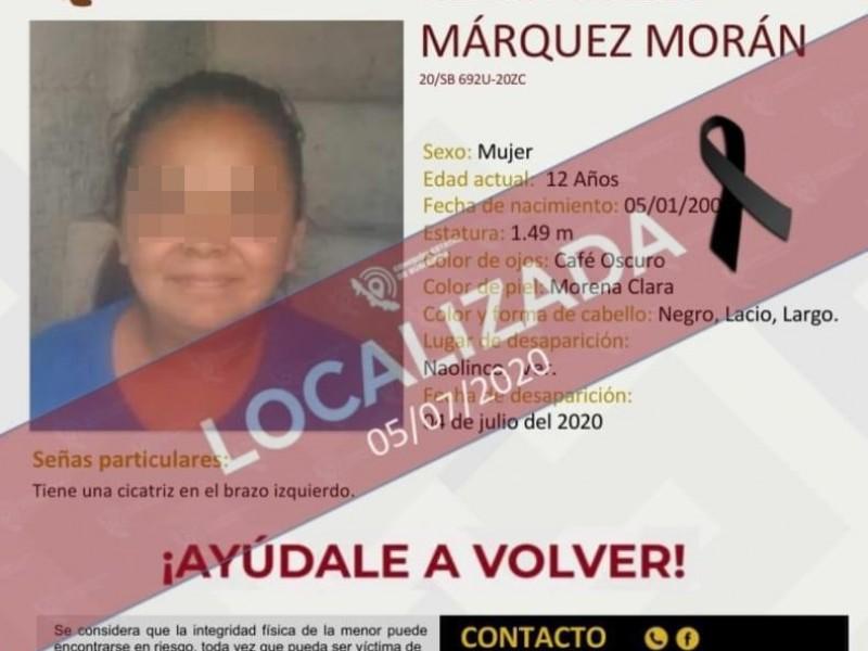 Localizan sin vida a niña de 12 años en Naolinco