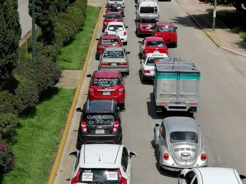 CNTE realiza marcha motorizada exigen cumplimiento de minuta con AMLO