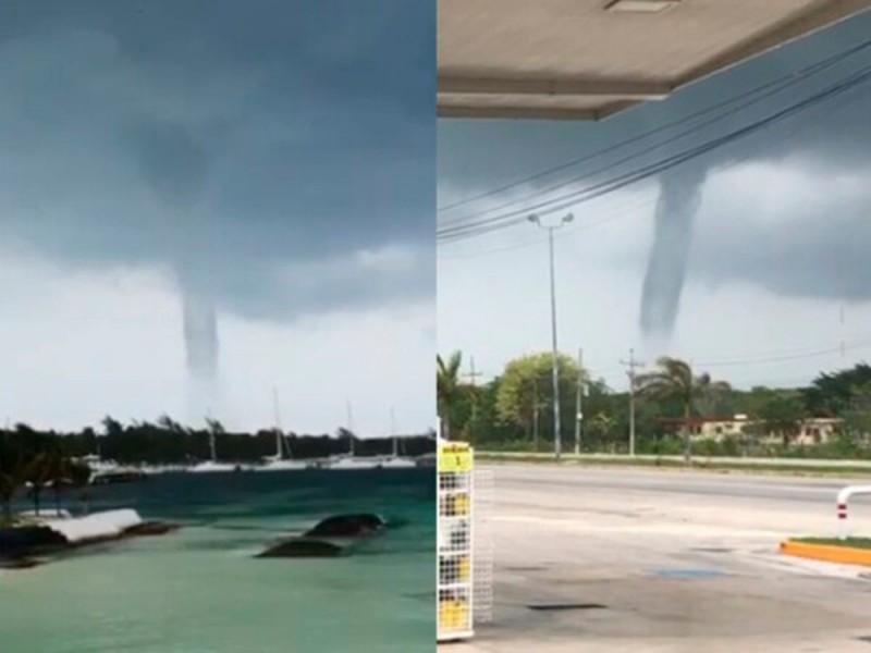 Mal clima azota península de Yucatán, captan tromba en Cancún
