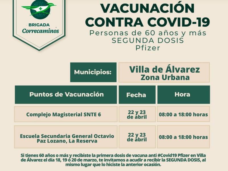 Mañana, aplicarán segunda dosis anticovid en Villa de Álvarez
