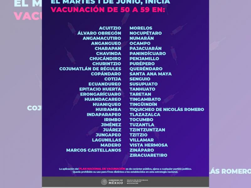 Mañana inicia vacunación contra covid-19 en 50 municipios michoacanos
