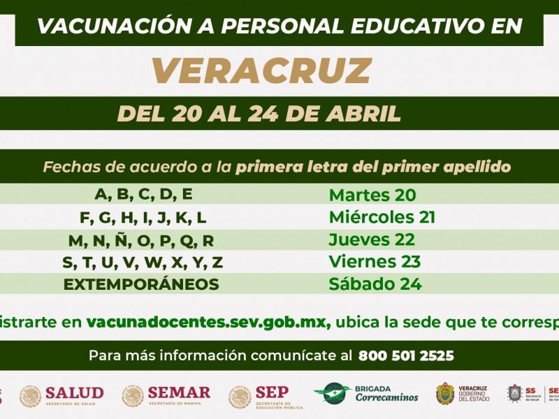 Mañana inicia  vacunación contra el covid19 para maestros veracruzanos