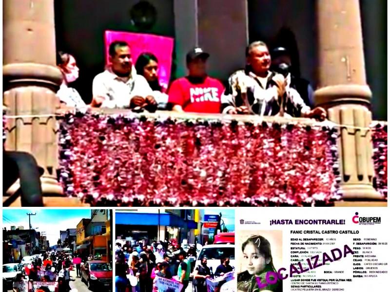 Marchan por niña localizada en Santiago Tianguistenco