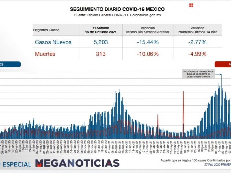 Más de 300 nuevas muertes por Covid en México