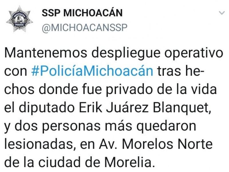Matan a diputado Erik Juárez, en Morelia