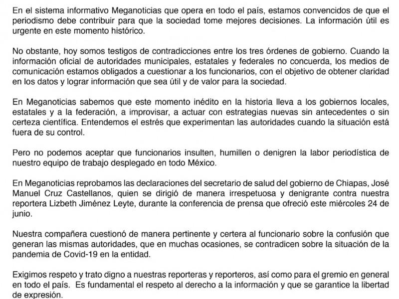 Meganoticias reprueba declaraciones de Secretario de Salud en Chiapas