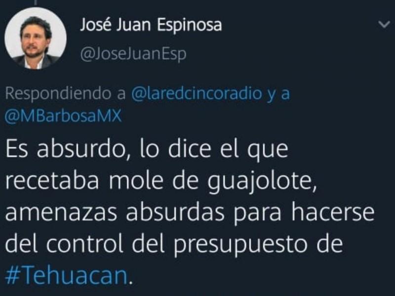 Miguel Barbosa se quiere quedar con el presupuesto de Tehuacan;JJ