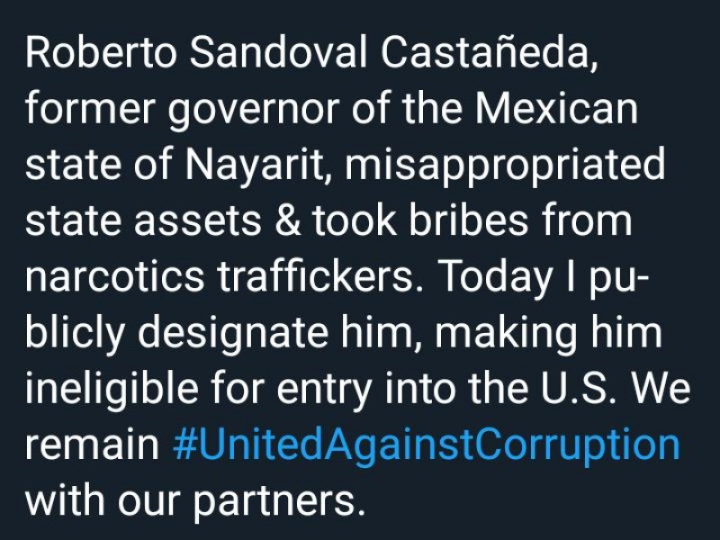 Mike Pomepo prohibe entrada a EEUU a Roberto Sandoval