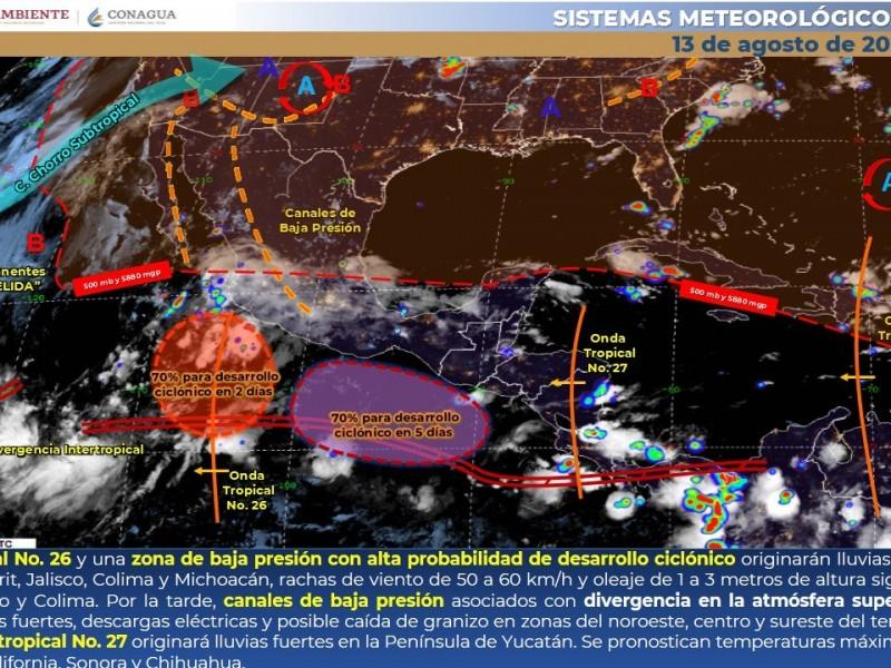 Monitorean dos bajas presiones que pudieran convertirse en huracán