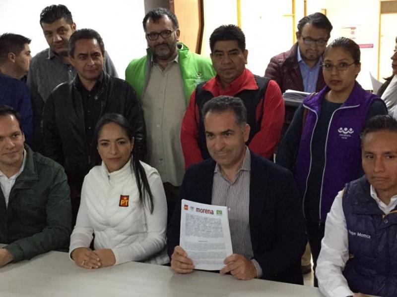 Morena registra coalición con PVEM y PT