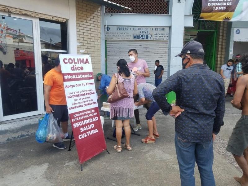 Morenistas recaban firmas contra deuda