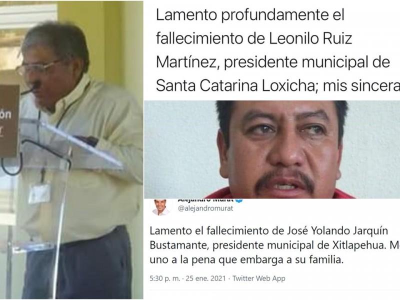 Mueren este lunes dos alcaldes de Oaxaca por Covid-19