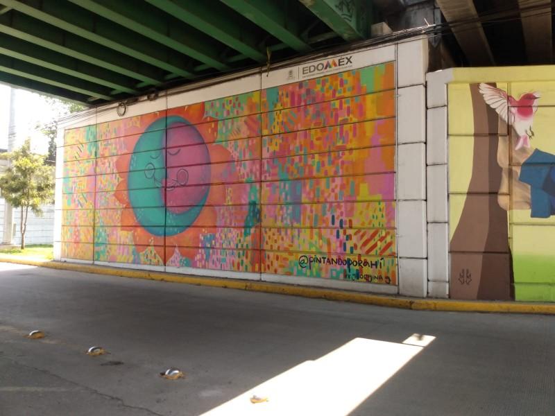 Mujeres realizan murales en bajo puentes de tollocan