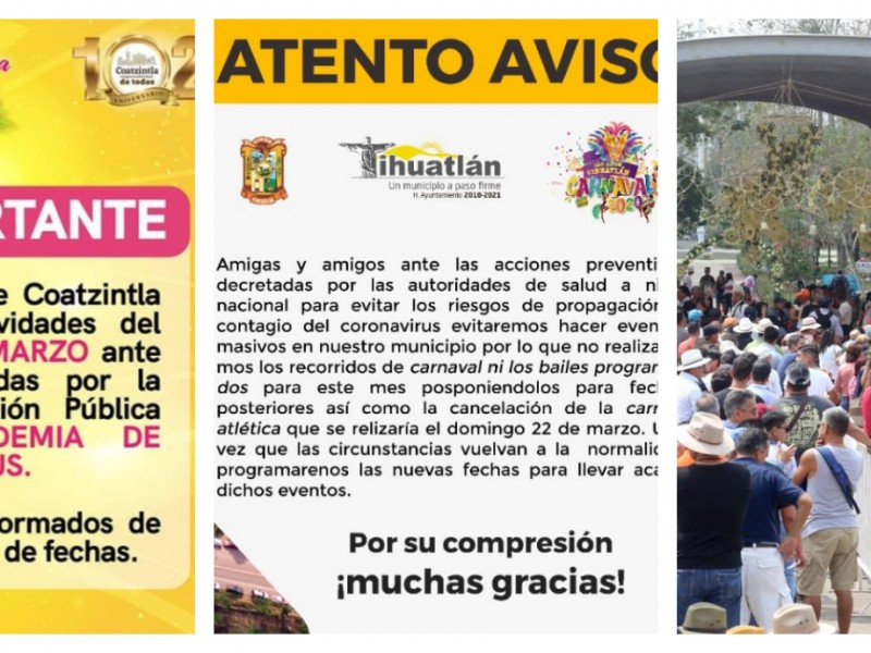 Municipios norveracruzanos suspenden eventos por Covid19