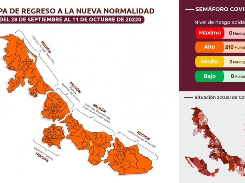 Municipios veracruzanos pasan a naranja y amarillo en Semáforo Regional