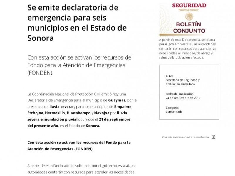 Navojoa y Huatabampo dentro de los municipios afectados