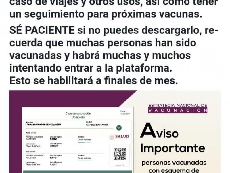 No existe Certificado de Vacunación: Bienestar