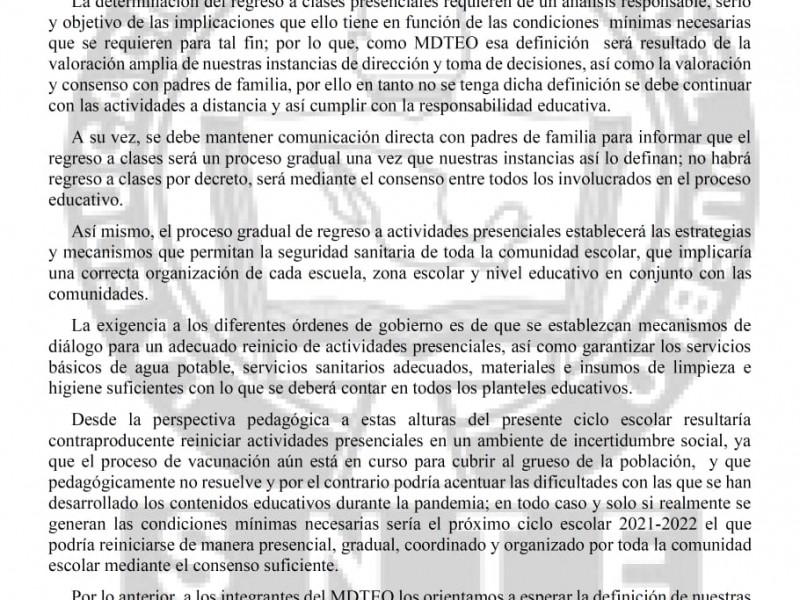 No hay condiciones para clases presenciales: Sección 22 CNTE
