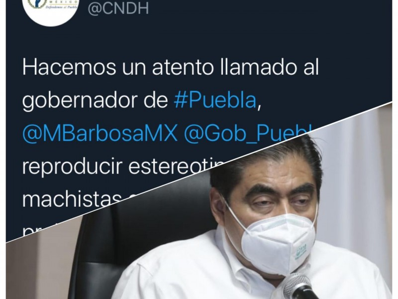 No reproducir estereotipos machistas pide CNDH a Barbosa