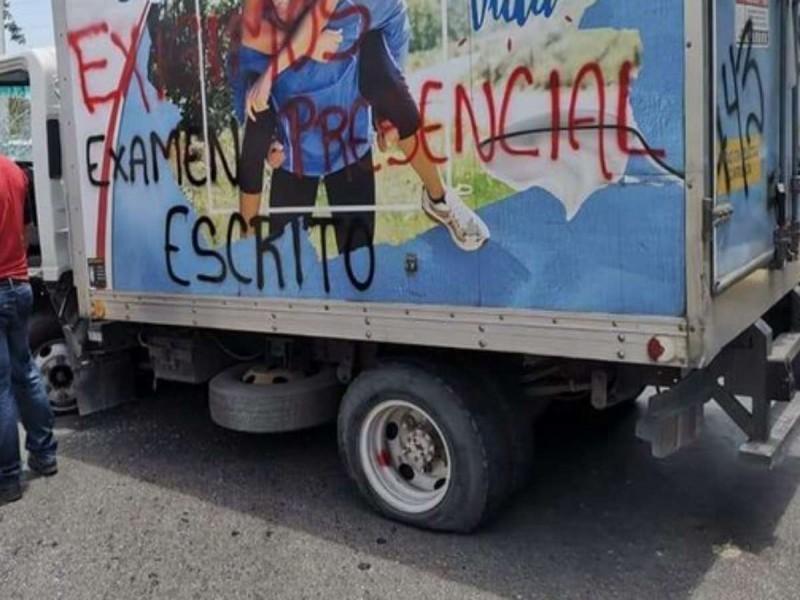 Normalistas cometen actos vandálicos en Chiapas