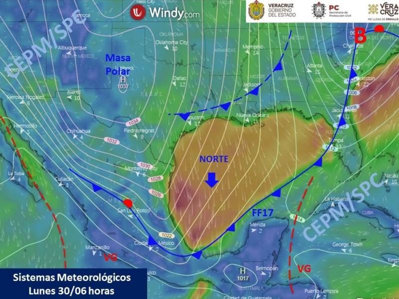 'Norte' afecta al estado de Veracruz con bajas temperaturas