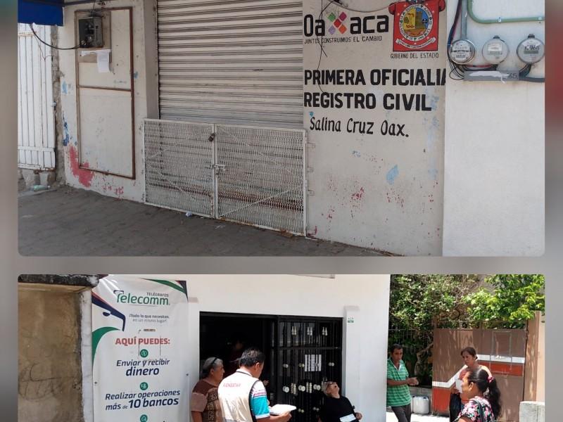 Oficinas gubernamentales operan de manera limitada en Salina Cruz
