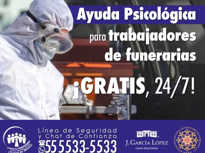 Ofrecen ayuda psicológica gratuita a trabajadores de funerarias