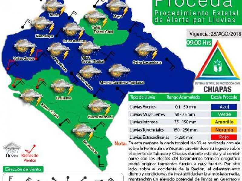 Onda tropical 33 ocasionará lluvias en Chiapas