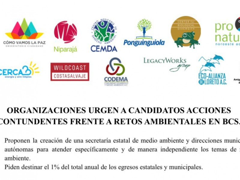 Organizaciones de la sociedad civil emitieron propuestas ambientales a candidatos