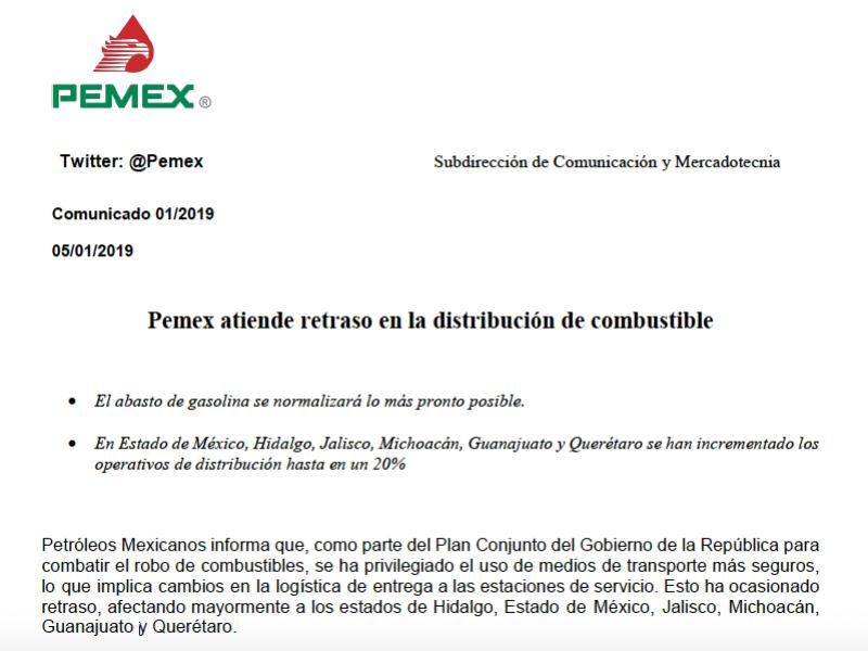 Pemex promete restablecer servicio de gasolina