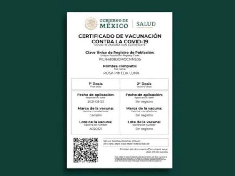 Piden agilizar plataforma para corregir errores en certificados de vacunación