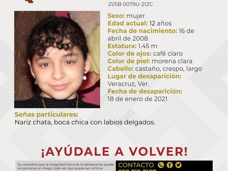 Piden ayuda para localizar a menor desaparecida en Veracruz