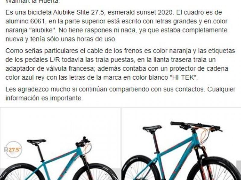 Piden ayuda para recuperar bicicleta robada en Walmart La Huerta