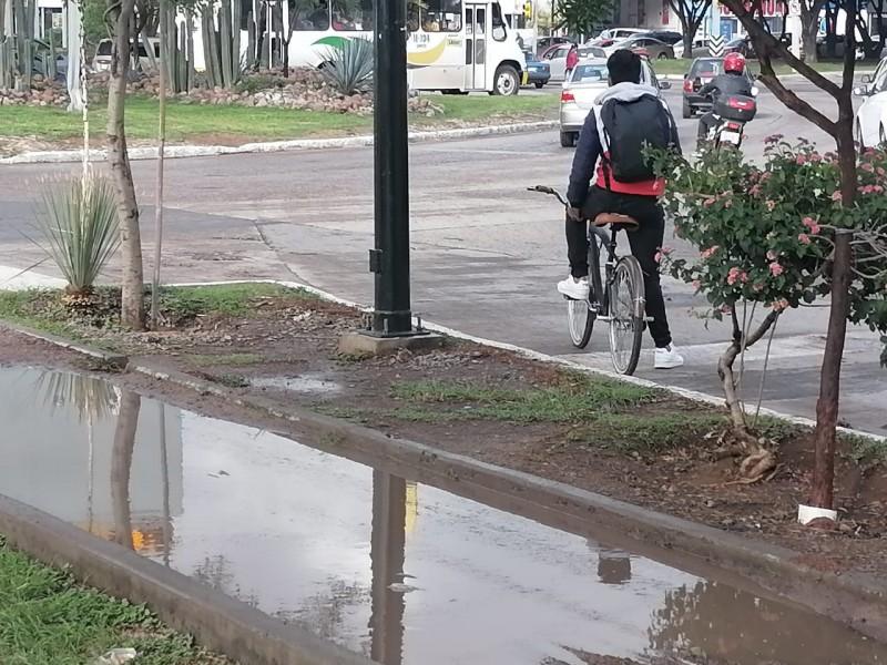 Piden ciclistas reparar ciclovía en bulevar Hidalgo.