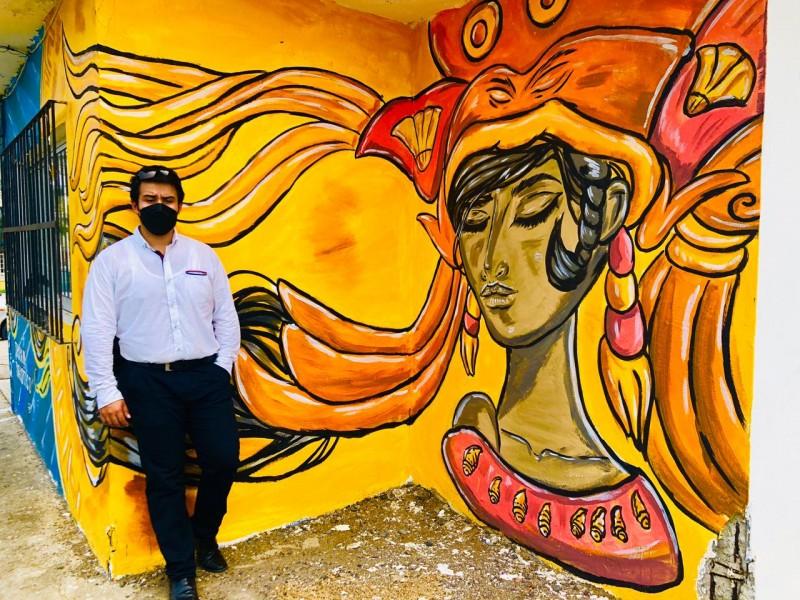 Pintan mural de la diosa de los bellos atardeceres