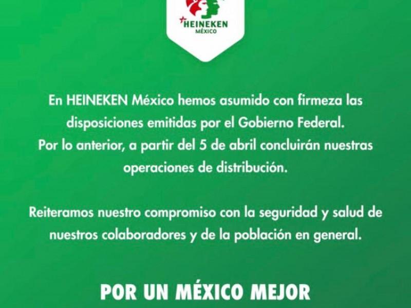 Planta Heineken Orizaba detendrá labores el 5 de abril