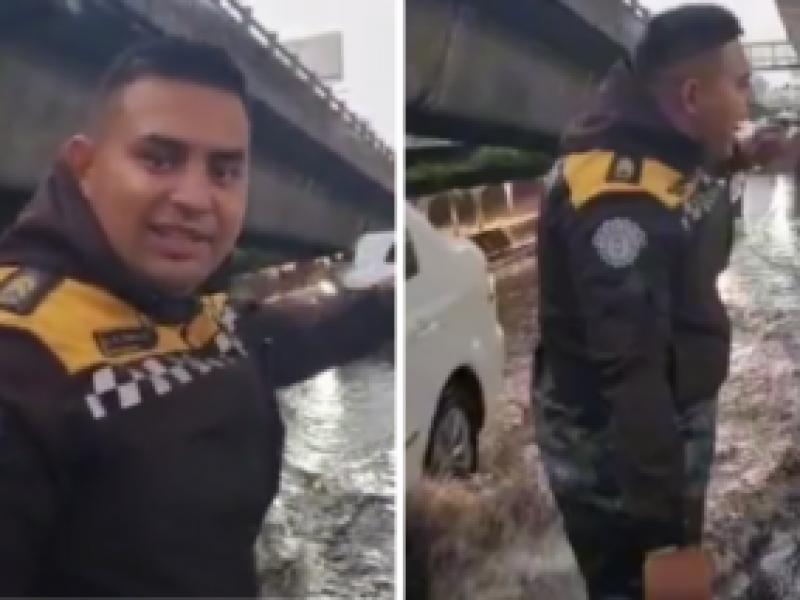 Policía de tránsito se vuelve viral por trabajar feliz