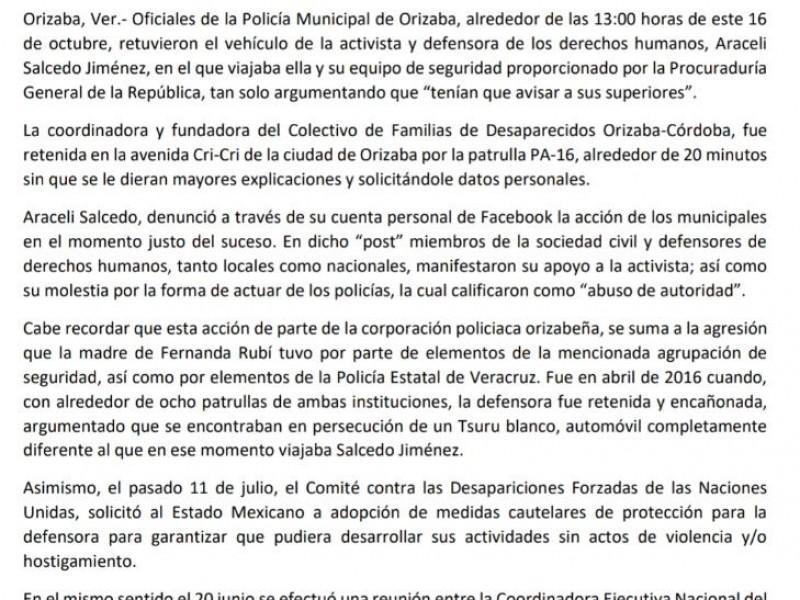 Policía Municipal de Orizaba retuvo a Araceli Salcedo