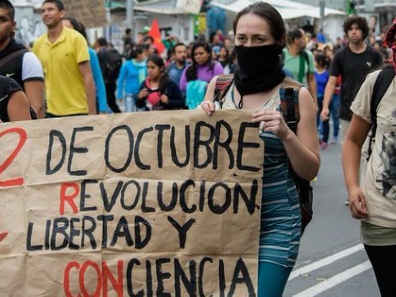 Policías desarmados vigilan marchas del 2 de octubre