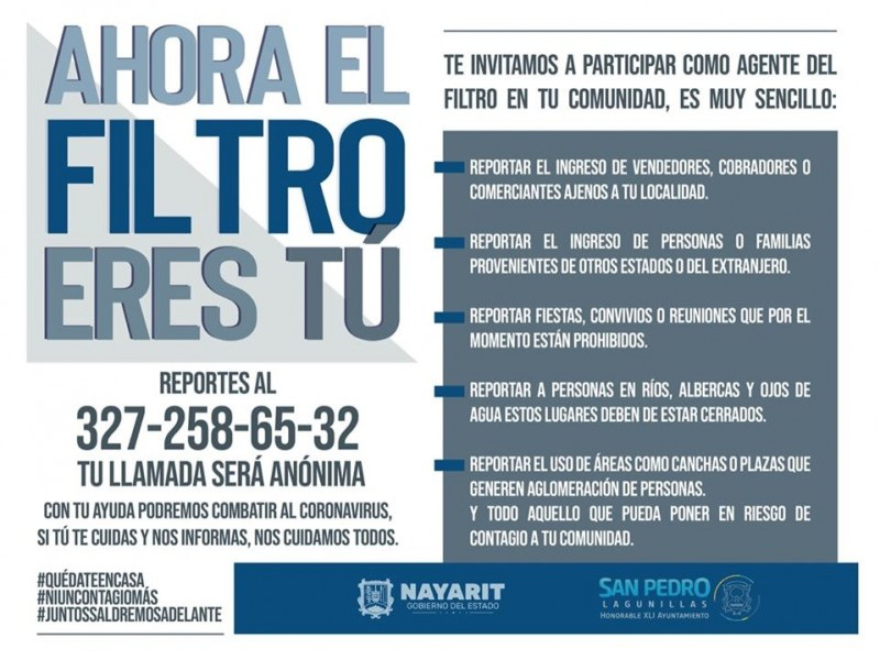 Ponen en marcha filtros sanitarios móviles en San Pedro Lagunillas