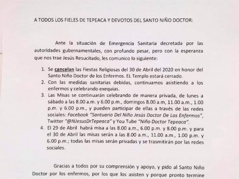 Por contingencia se suspende celebración del Niño Doctor en Tepeaca