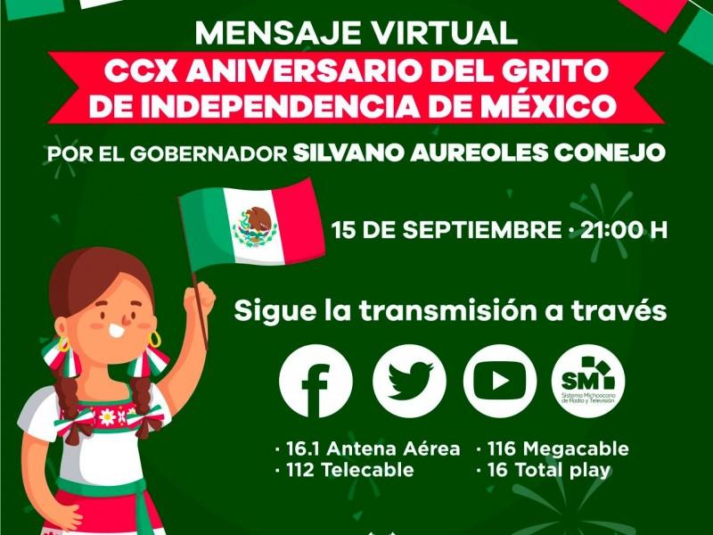 Por Covid19 Grito 2020 será virtual en Michoacán
