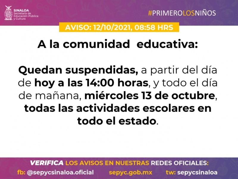 Por Huracán, suspenden clases en Sinaloa